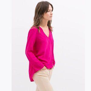 ZARA Fuchsia Pink V-Neck High-Low Tunic Top sz S